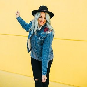 Jackets & Coats - Embroidered Floral Denim Jacket with Faux Fur